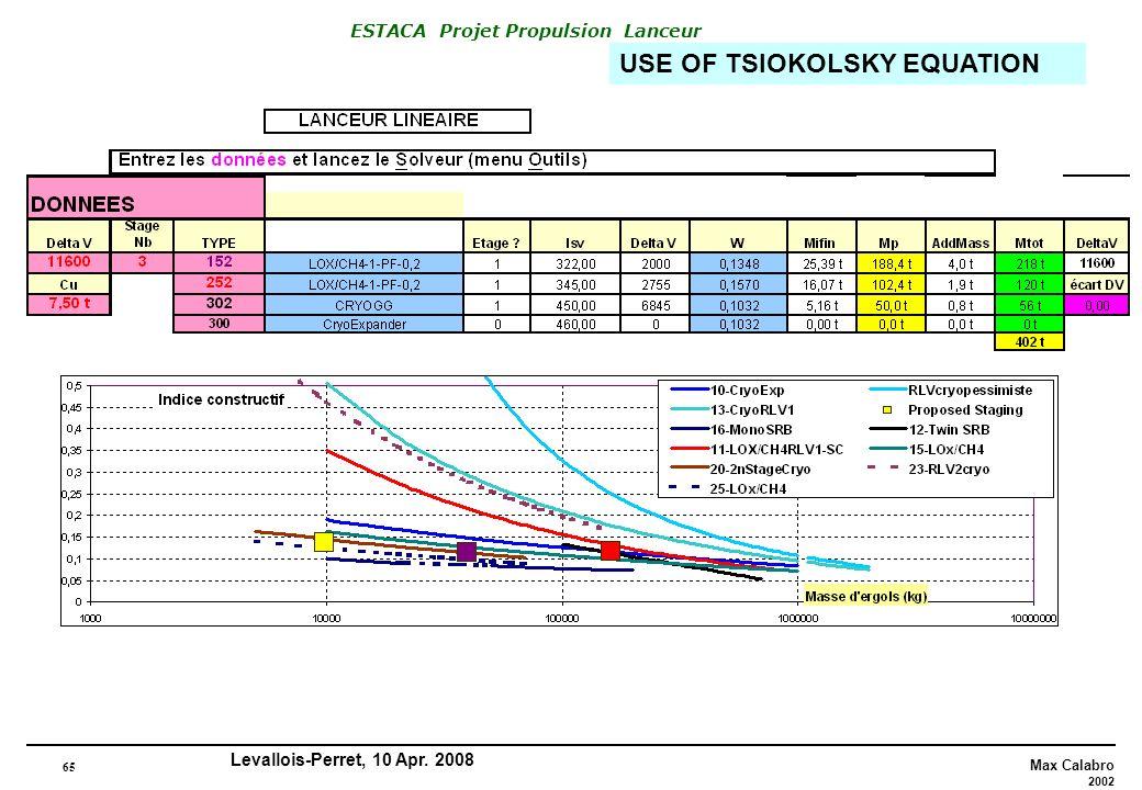 USE OF TSIOKOLSKY EQUATION
