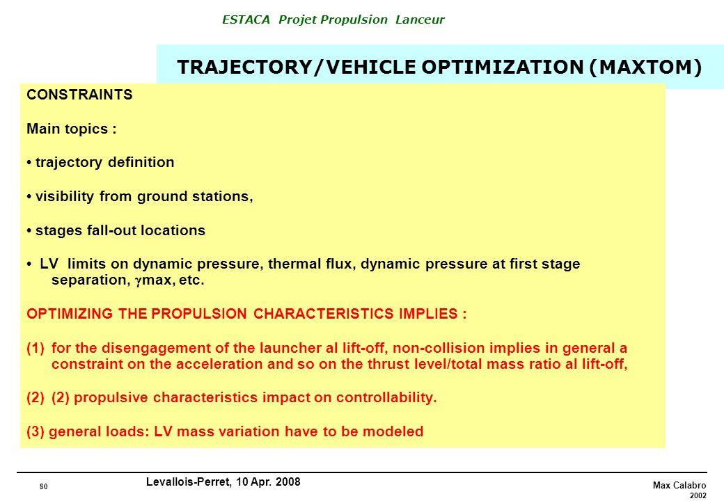 TRAJECTORY/VEHICLE OPTIMIZATION (MAXTOM)