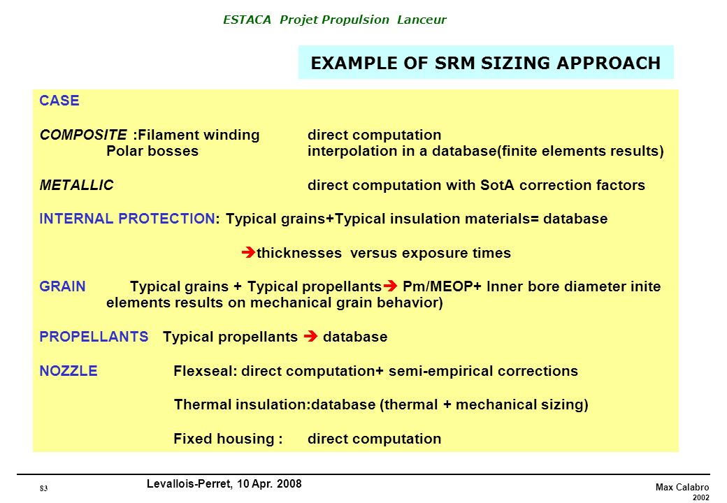 EXAMPLE OF SRM SIZING APPROACH