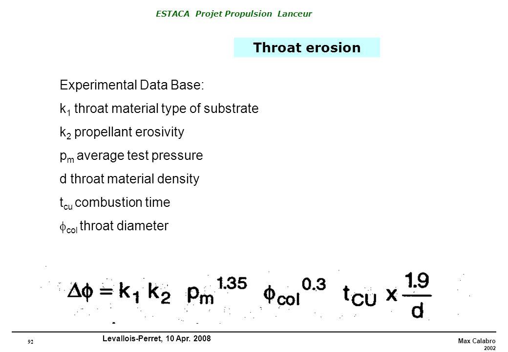 Throat erosion Experimental Data Base: k1 throat material type of substrate. k2 propellant erosivity.