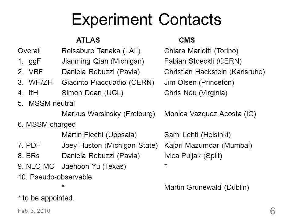 Experiment Contacts ATLAS CMS