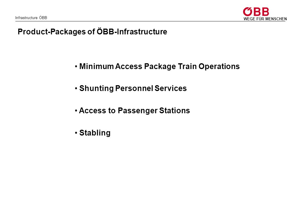 Product-Packages of ÖBB-Infrastructure