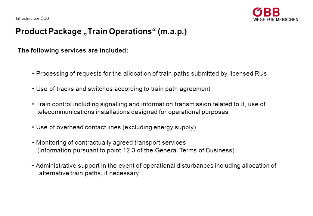 """Product Package """"Train Operations (m.a.p.)"""
