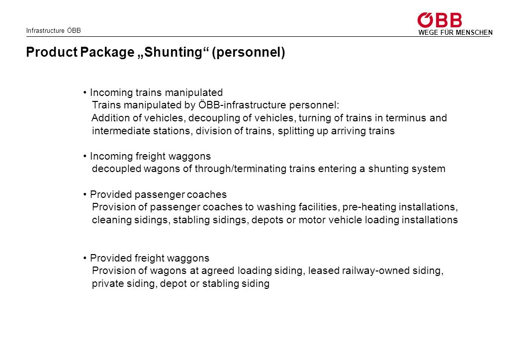 """Product Package """"Shunting (personnel)"""