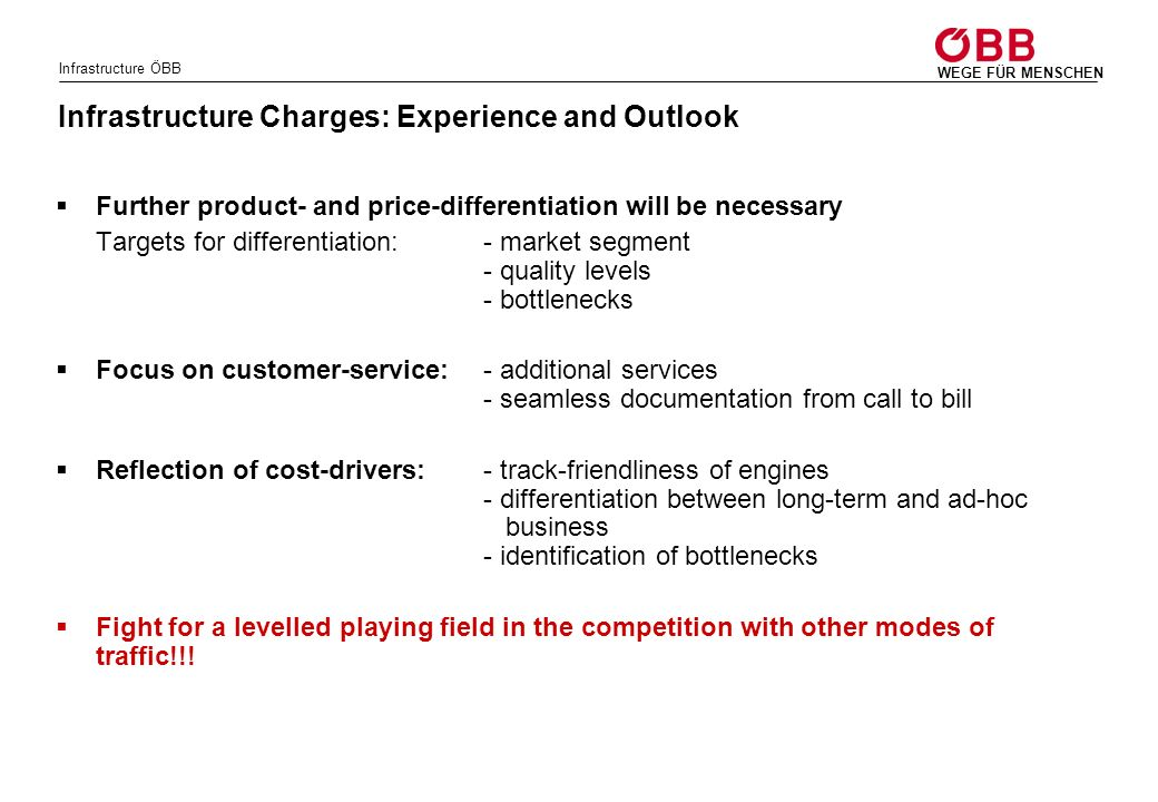 Infrastructure Charges: Experience and Outlook