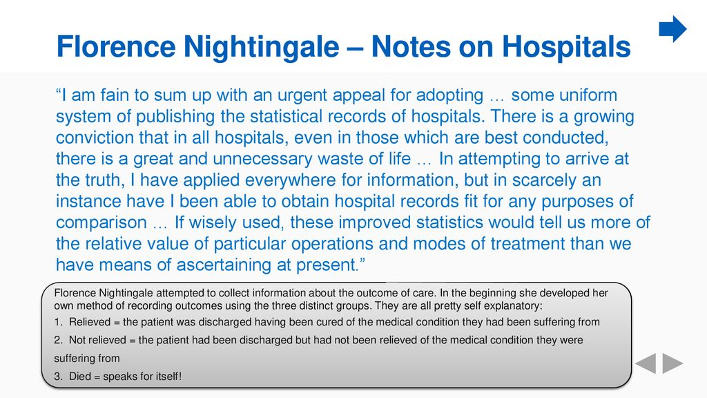 Florence Nightingale – Notes on Hospitals