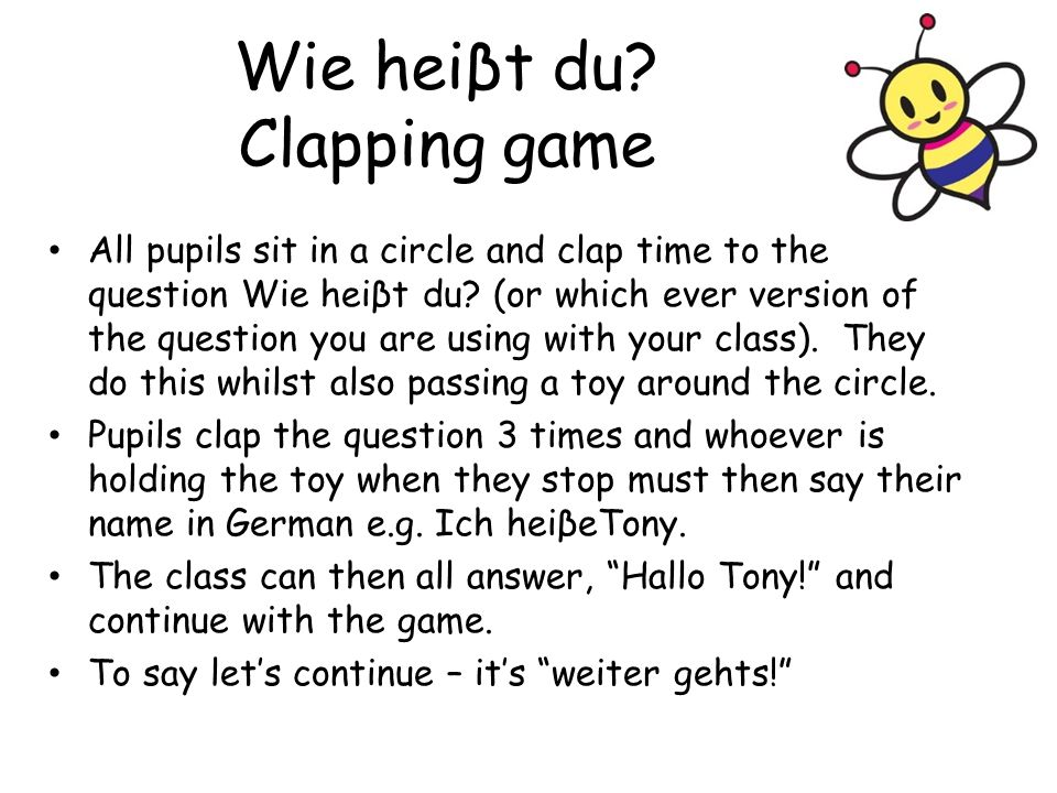 Wie heiβt du Clapping game