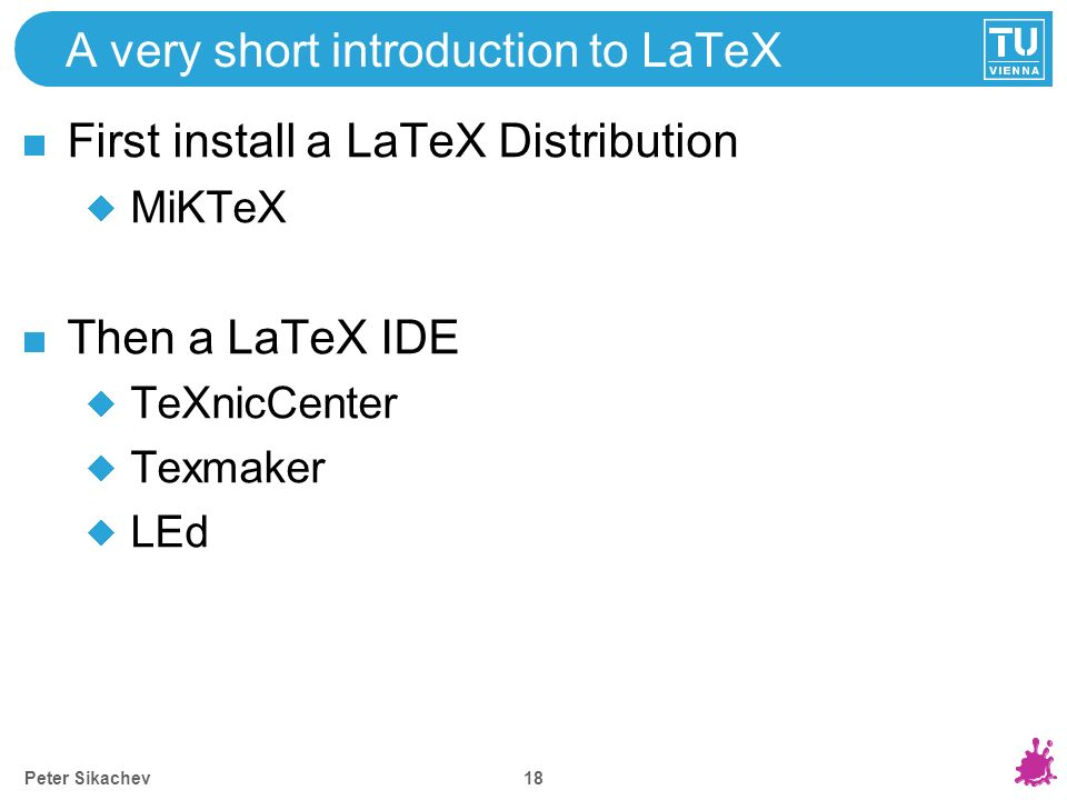 A very short introduction to LaTeX