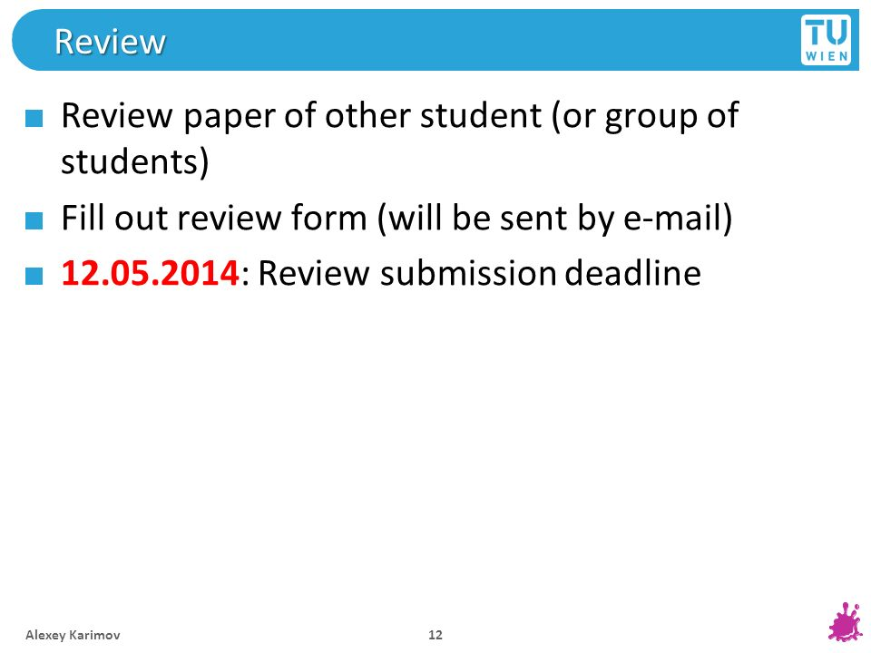 Review paper of other student (or group of students)