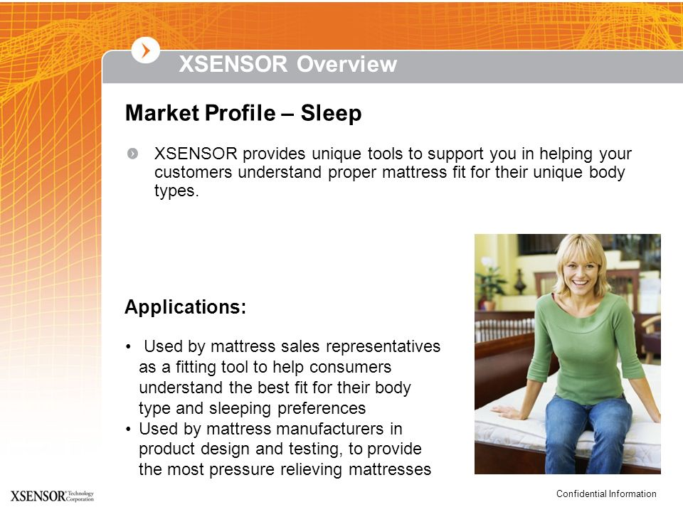 XSENSOR Overview Market Profile – Sleep Applications:
