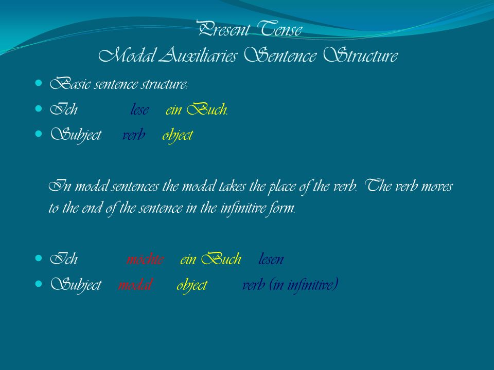 Present Tense Modal Auxiliaries Sentence Structure
