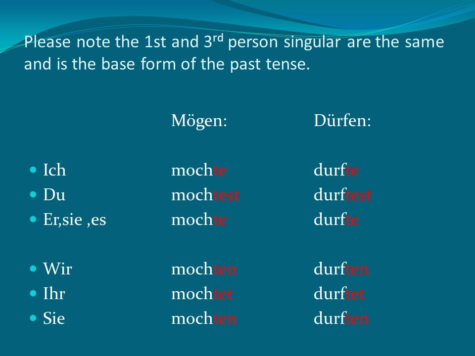 Please note the 1st and 3rd person singular are the same and is the base form of the past tense.