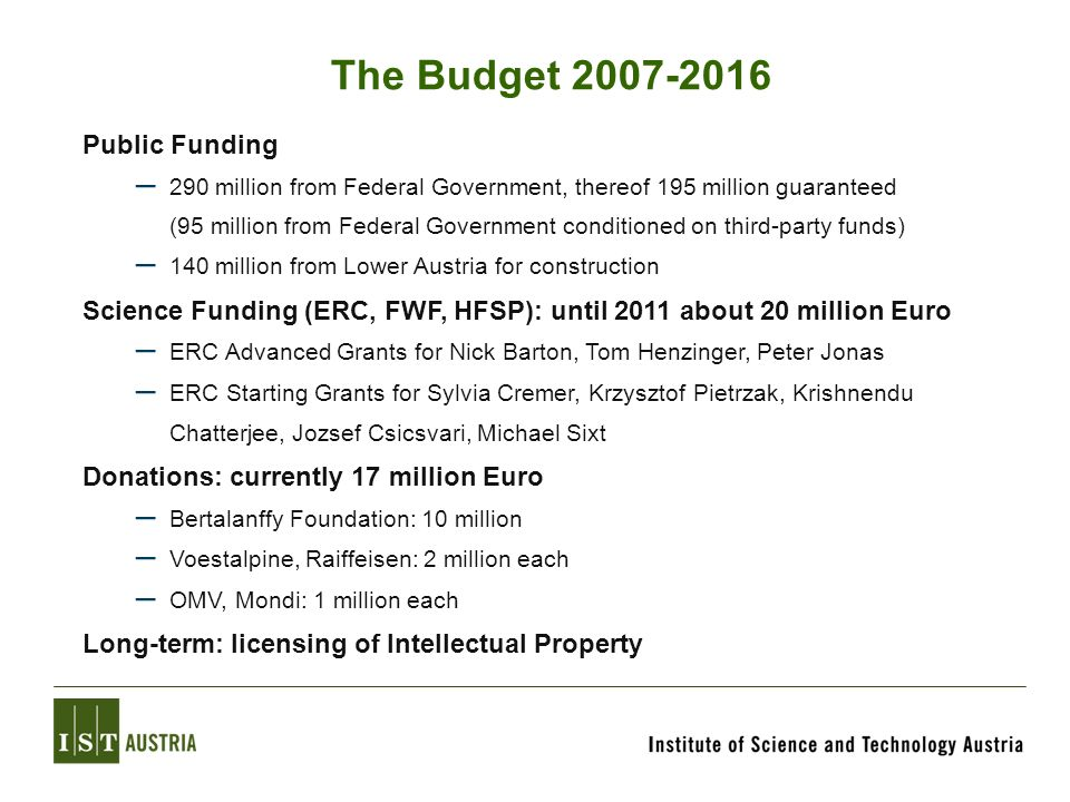 The Budget 2007-2016 Public Funding