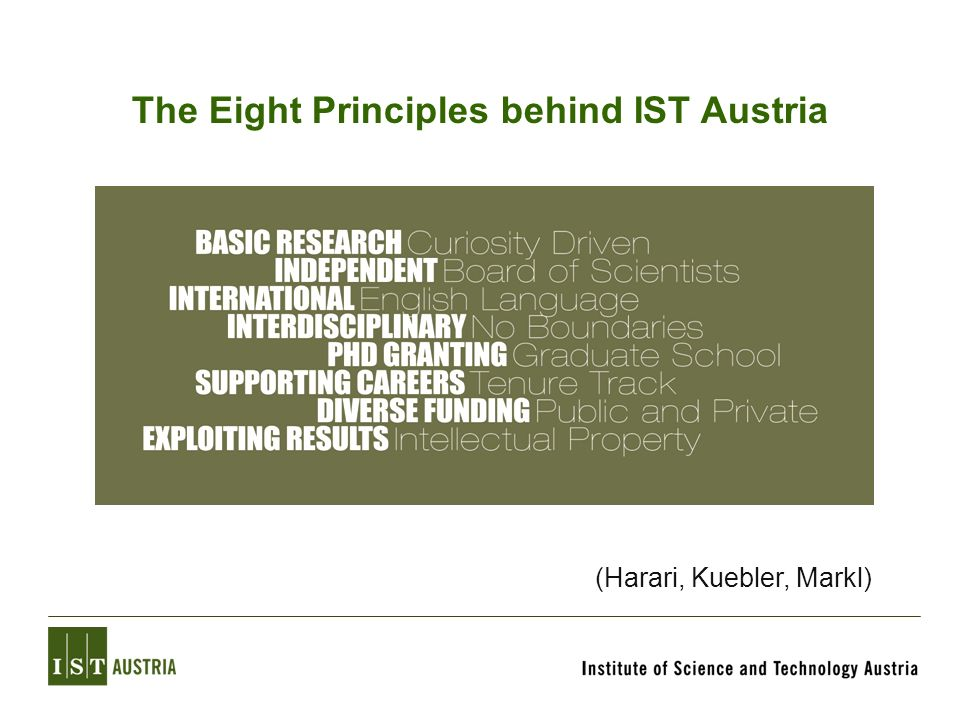 The Eight Principles behind IST Austria