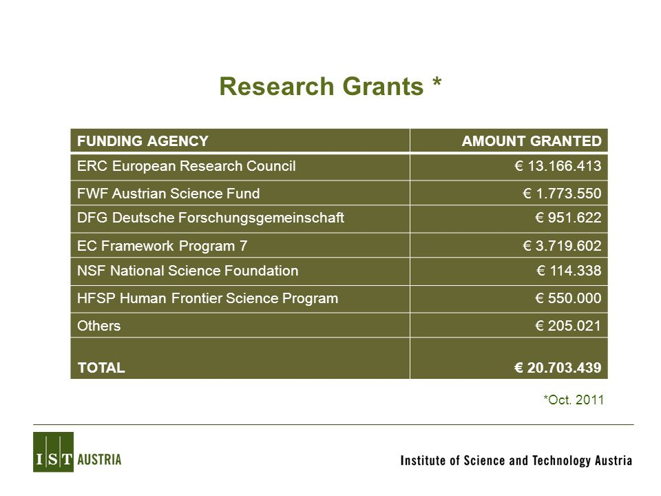 Research Grants * FUNDING AGENCY AMOUNT GRANTED