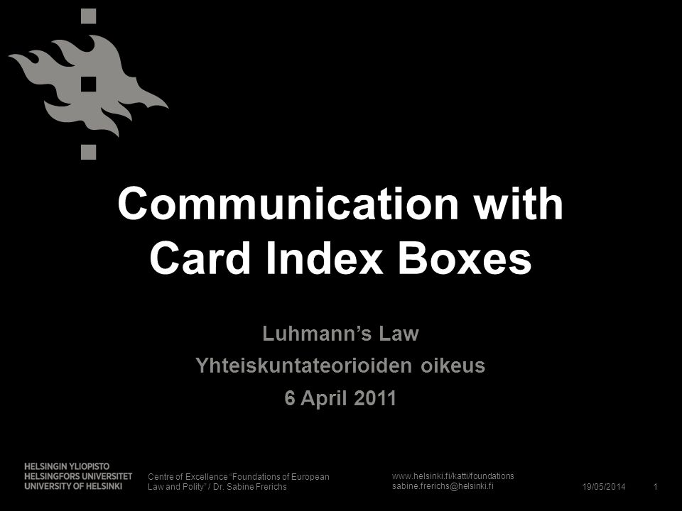 Communication with Card Index Boxes