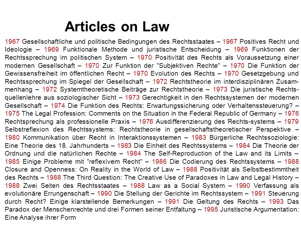 Articles on Law