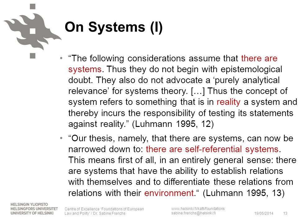 On Systems (I)