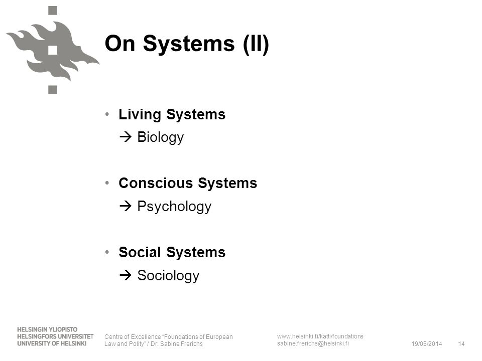 On Systems (II) Living Systems  Biology Conscious Systems