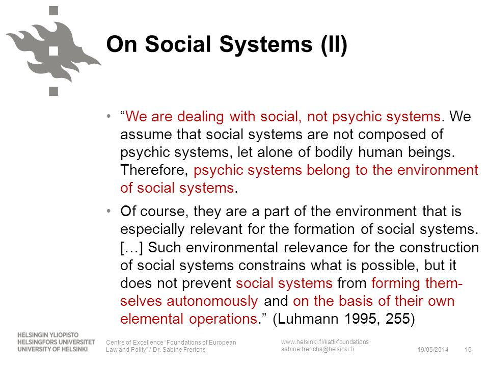 On Social Systems (II)