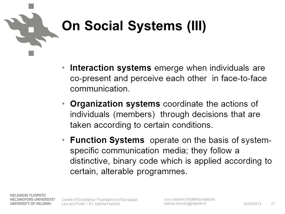 On Social Systems (III)