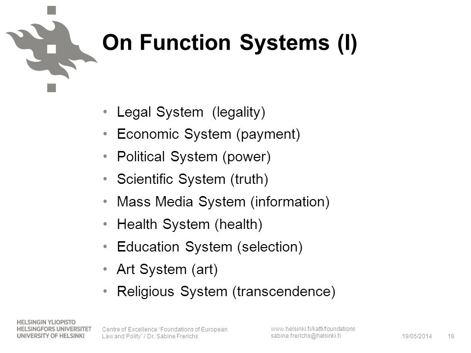 On Function Systems (I)