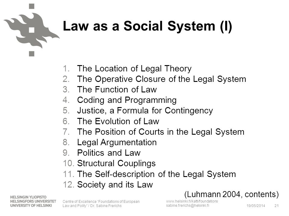 Law as a Social System (I)