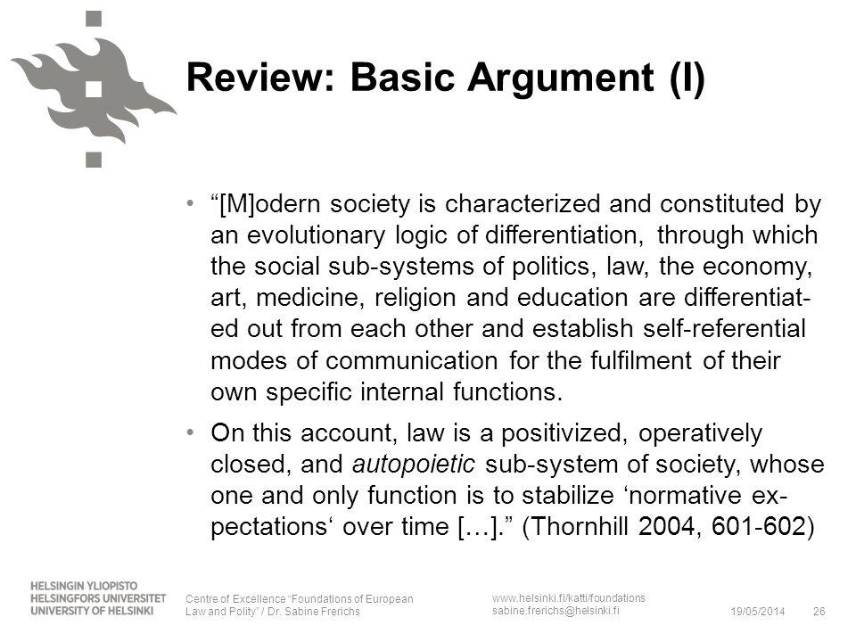 Review: Basic Argument (I)