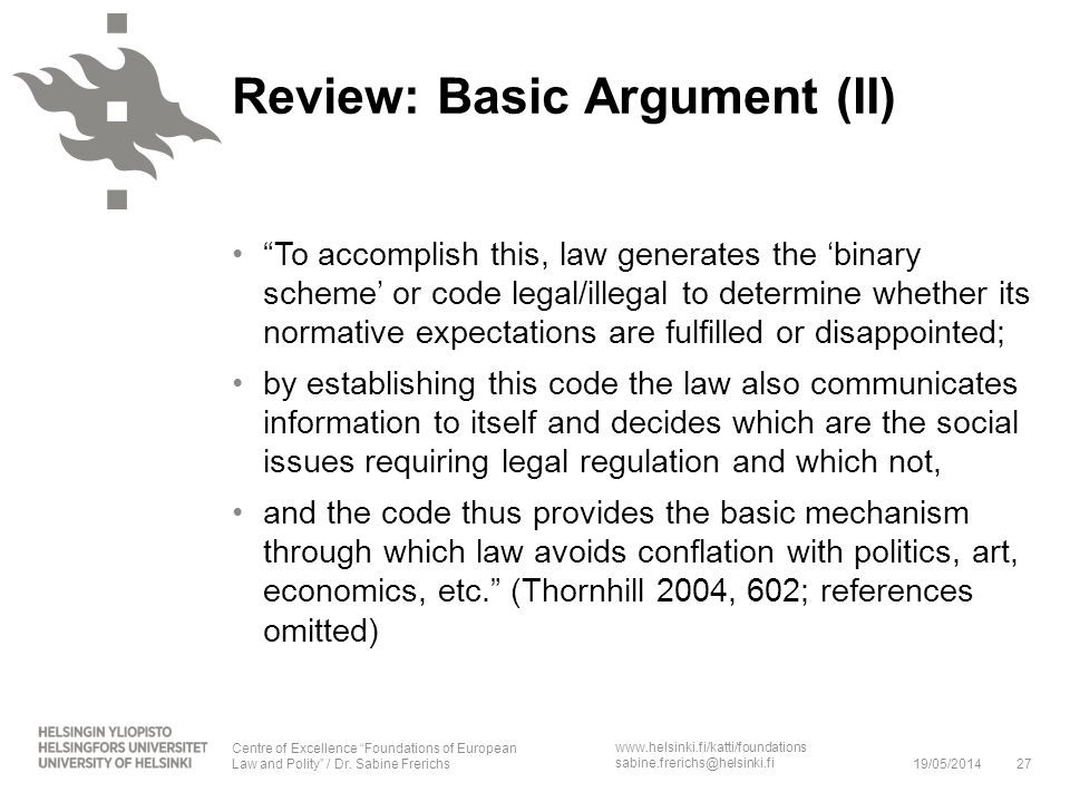 Review: Basic Argument (II)