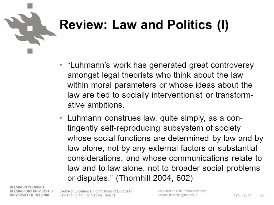 Review: Law and Politics (I)
