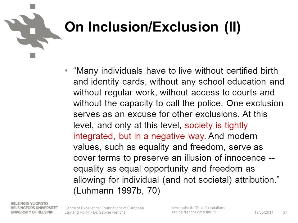On Inclusion/Exclusion (II)