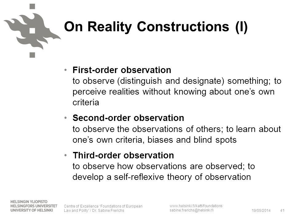 On Reality Constructions (I)