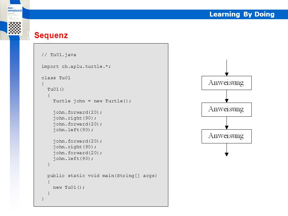 Sequenz Learning By Doing // Tu01.java import ch.aplu.turtle.*;