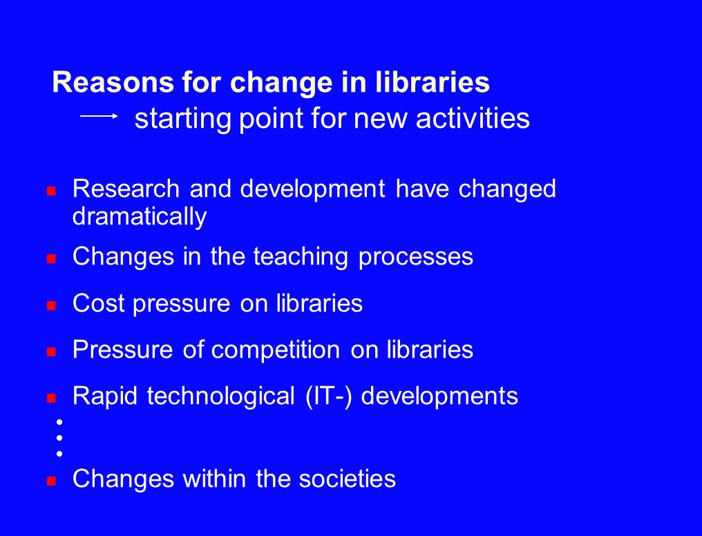 Reasons for change in libraries starting point for new activities
