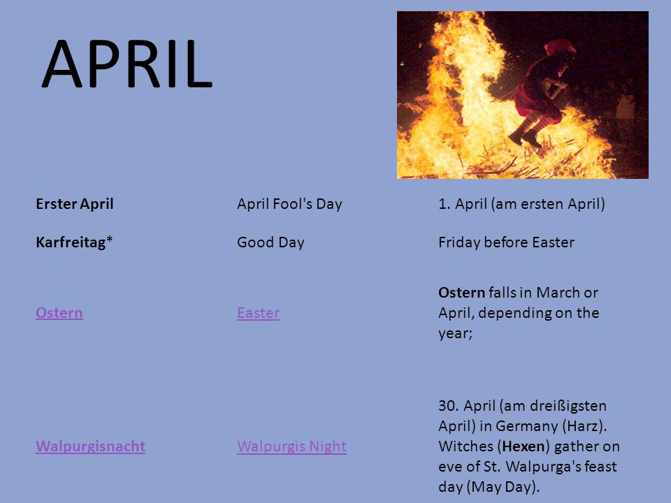 APRIL Erster April April Fool s Day 1. April (am ersten April)