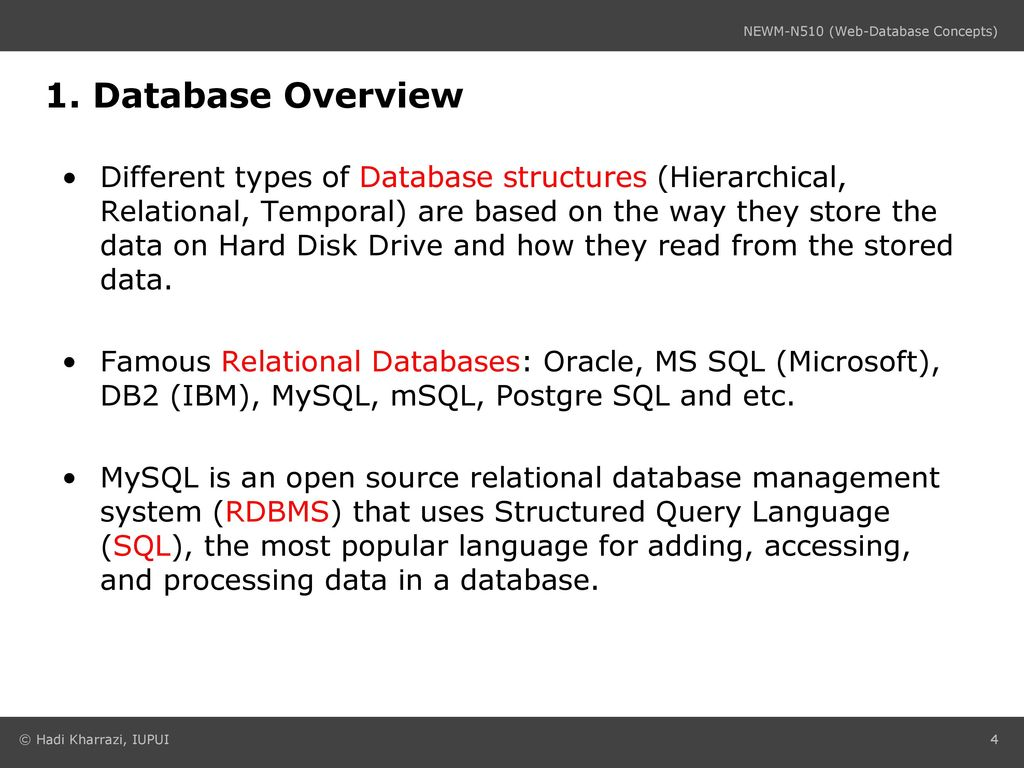 Lecture #2 MySQL (1) NEWM N510: Web-Database Concepts - ppt