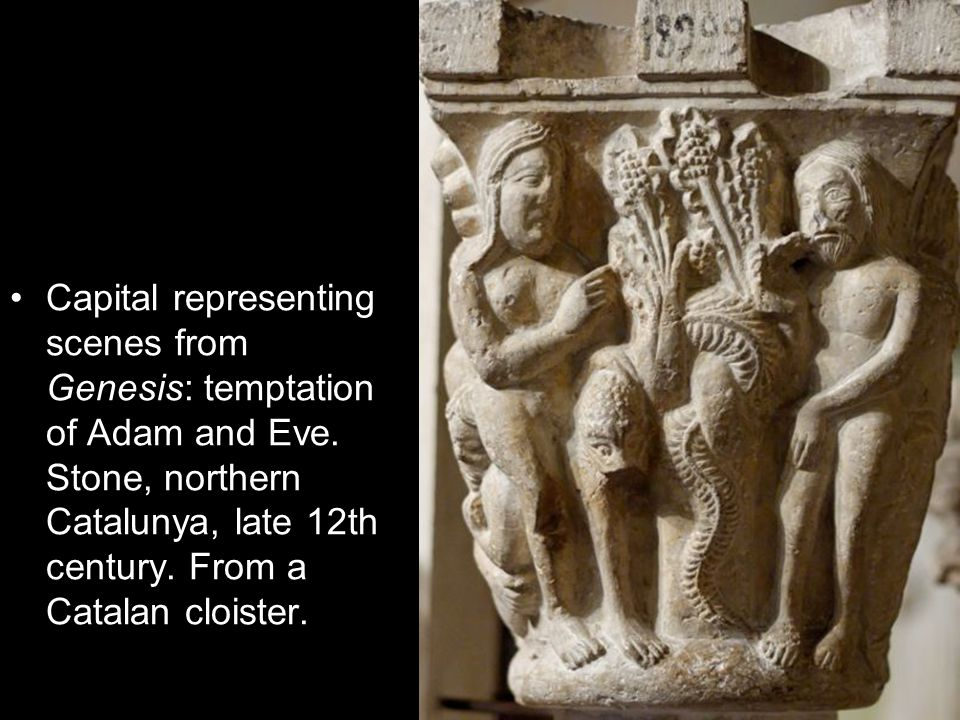 Capital representing scenes from Genesis: temptation of Adam and Eve