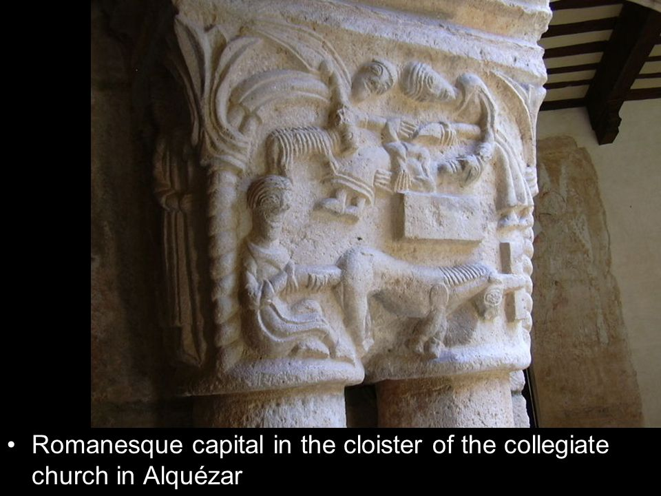 Romanesque capital in the cloister of the collegiate church in Alquézar