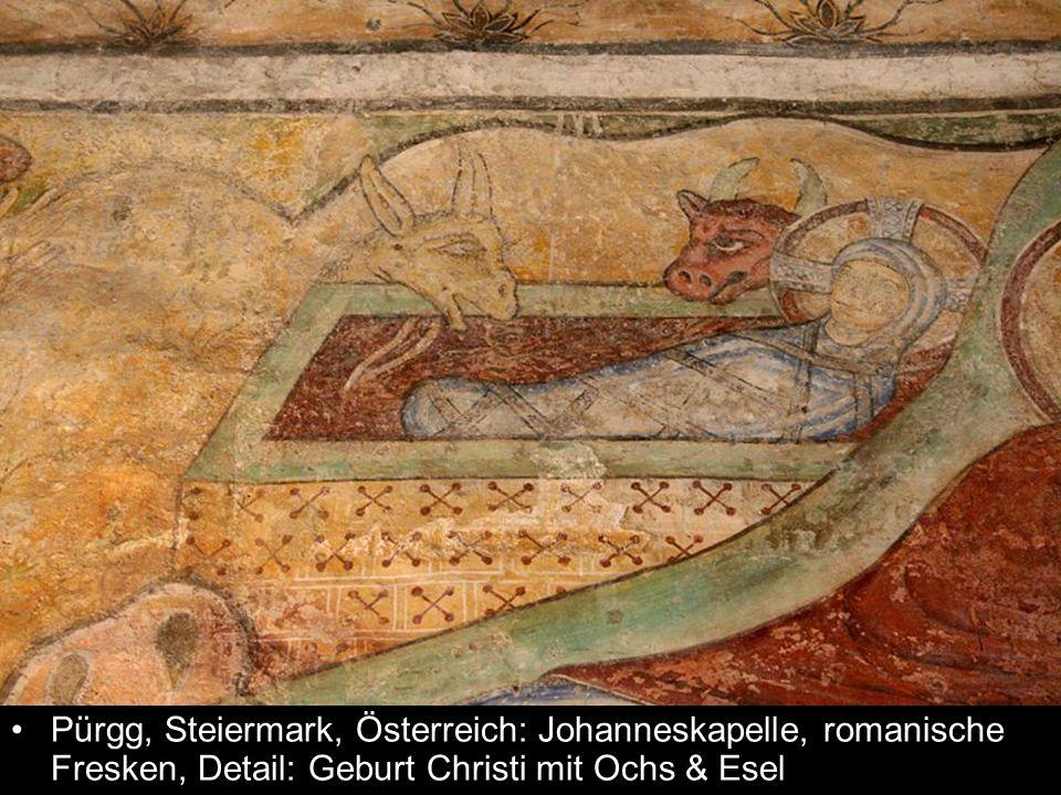 Pürgg, Steiermark, Österreich: Johanneskapelle, romanische Fresken, Detail: Geburt Christi mit Ochs & Esel