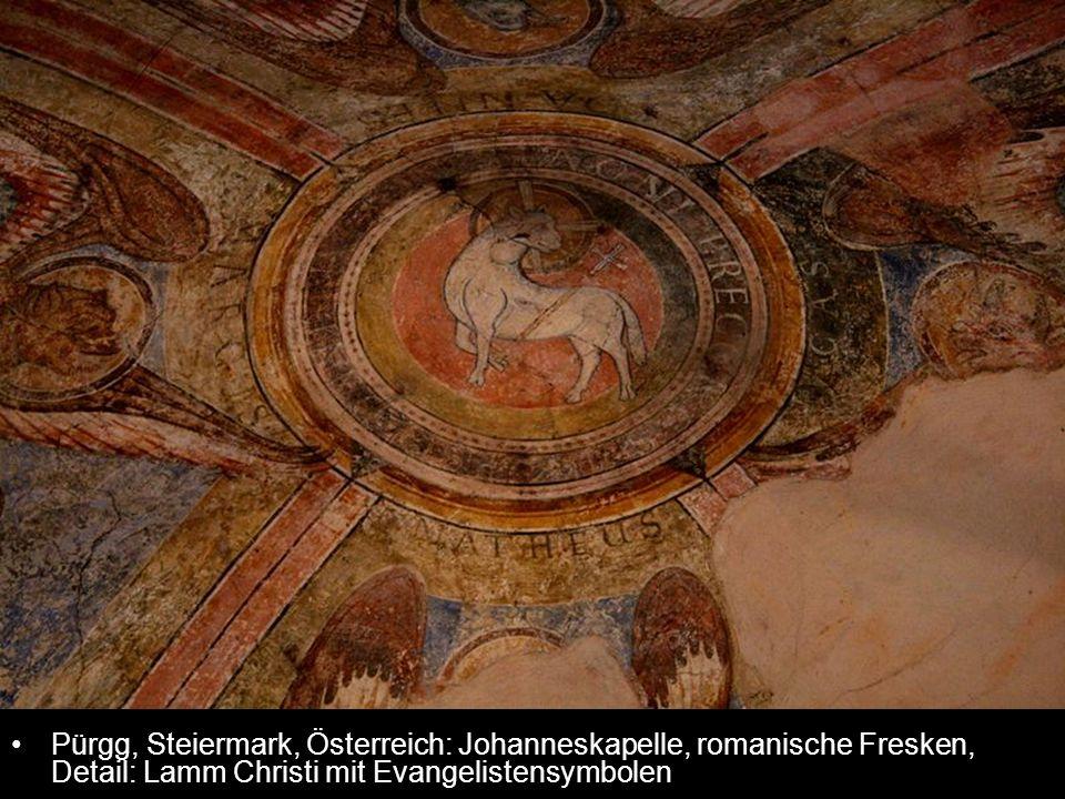 Pürgg, Steiermark, Österreich: Johanneskapelle, romanische Fresken, Detail: Lamm Christi mit Evangelistensymbolen