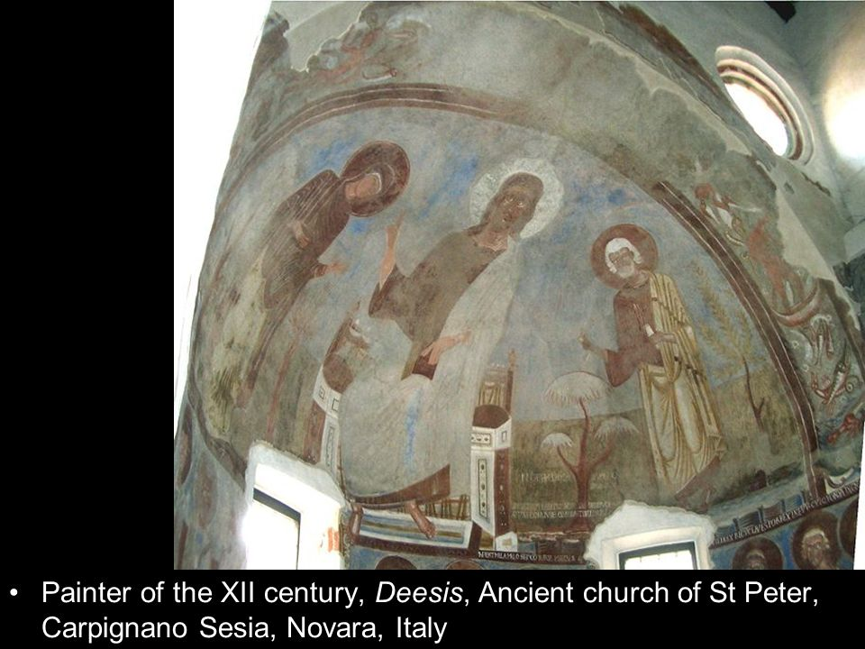 Painter of the XII century, Deesis, Ancient church of St Peter, Carpignano Sesia, Novara, Italy