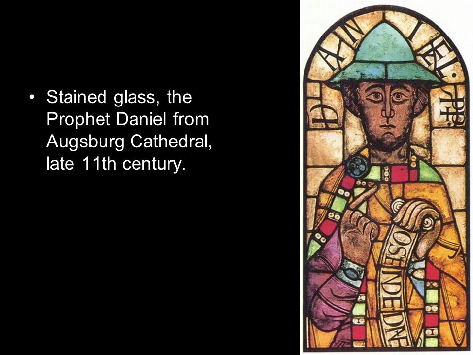 Stained glass, the Prophet Daniel from Augsburg Cathedral, late 11th century.