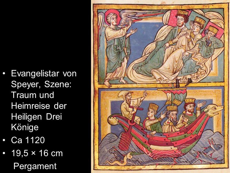 Evangelistar von Speyer, Szene: Traum und Heimreise der Heiligen Drei Könige