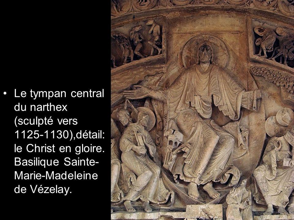 Le tympan central du narthex (sculpté vers 1125-1130),détail: le Christ en gloire.