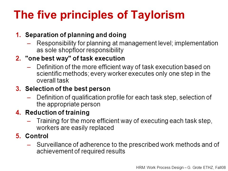 The five principles of Taylorism