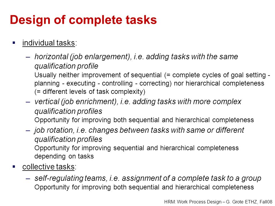 Design of complete tasks