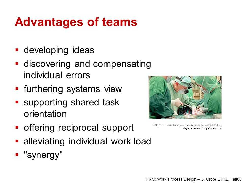 Advantages of teams developing ideas