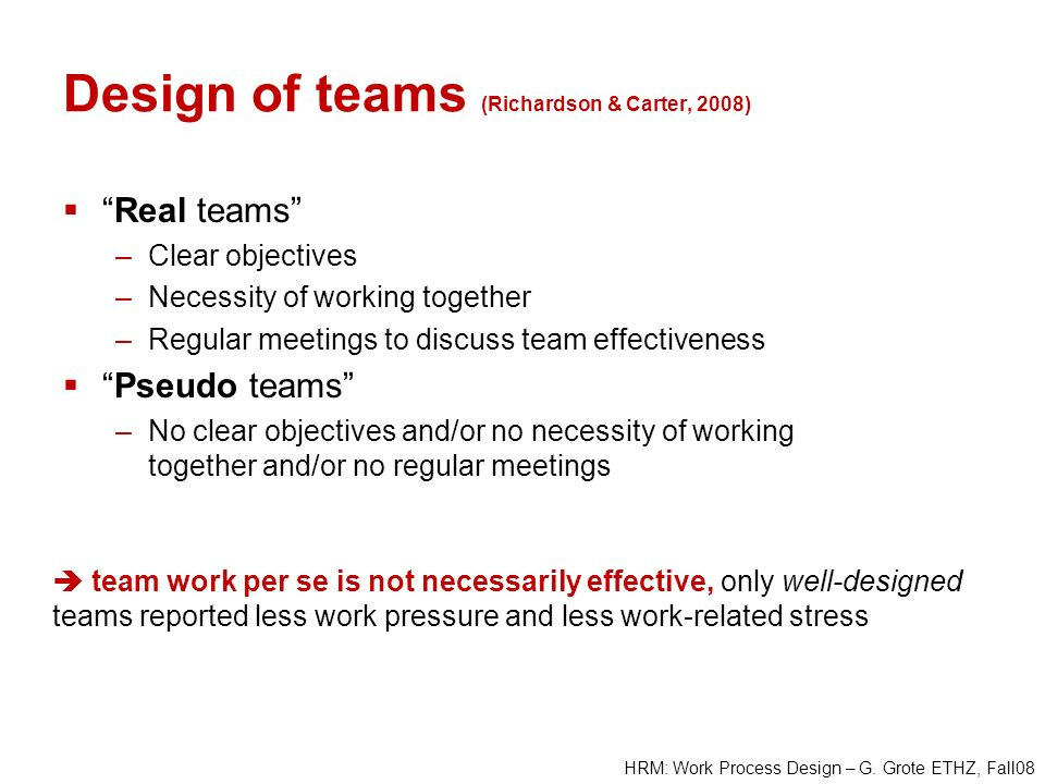 Design of teams (Richardson & Carter, 2008)