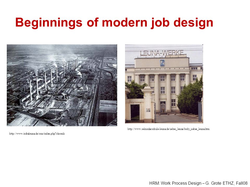 Beginnings of modern job design