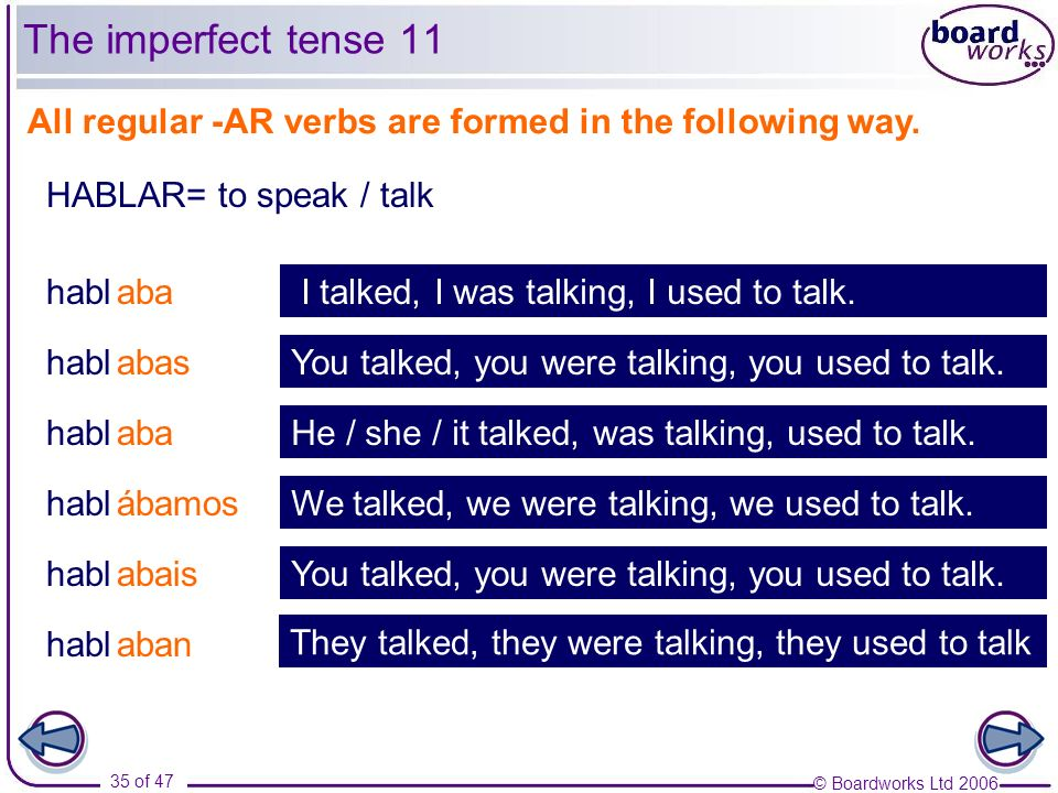The imperfect tense 11All regular -AR verbs are formed in the following way. HABLAR= to speak / talk.